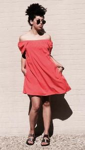 Sassy Shoulder Dress with Pockets