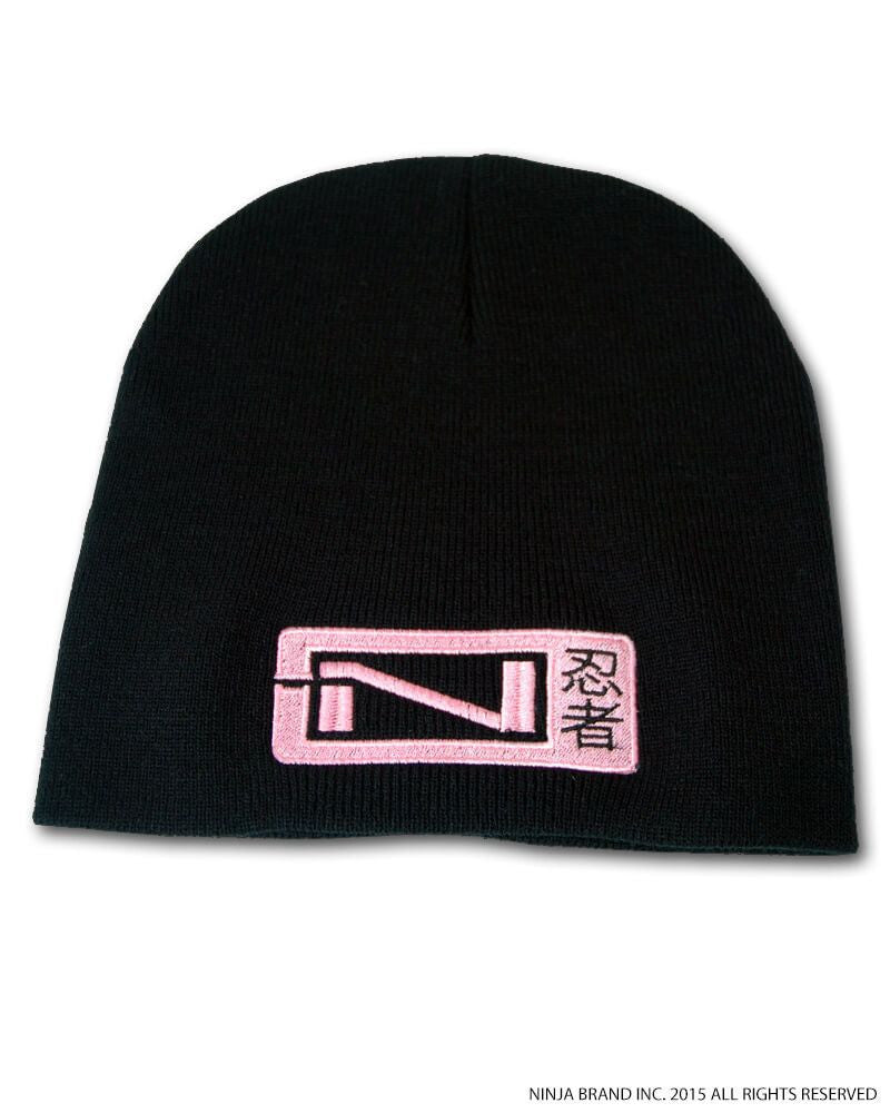 N-Logo Kanji Beanie - Black - Pink Embroidering - Front View