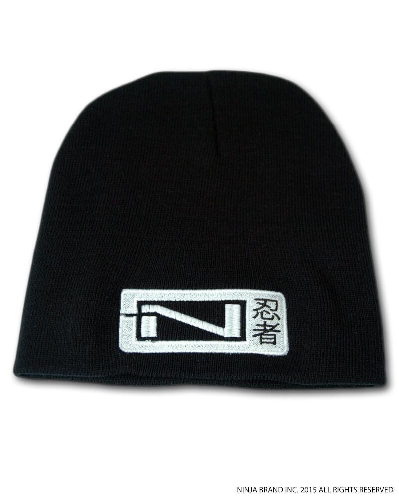 N-Logo Kanji Beanie - Black - White Embroidering - Flat View