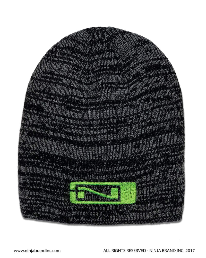 Ninja Brand Black Marbled Beanies with Green Logo