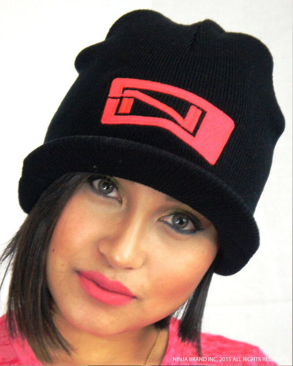 Beanie with Visor - N-Logo - Black - Pink Logo