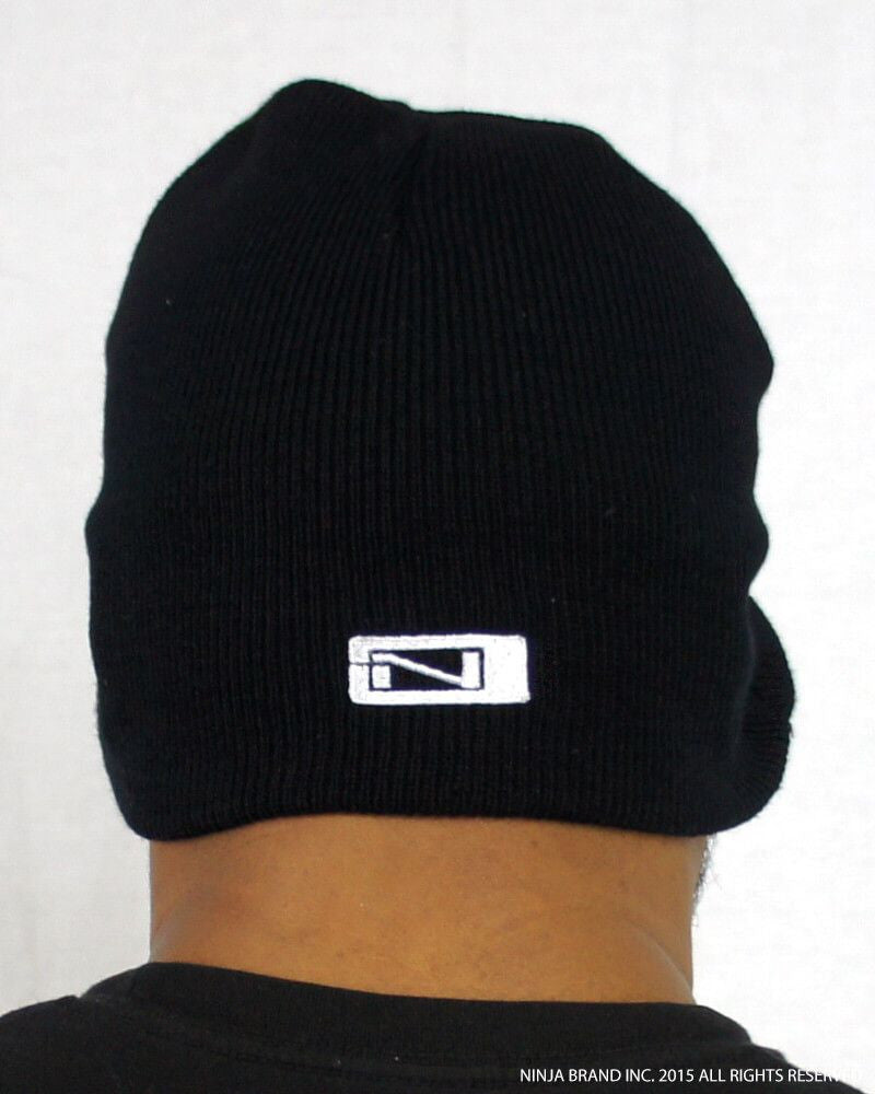N-Logo Kanji Beanie - Black - White Embroidering - Back View