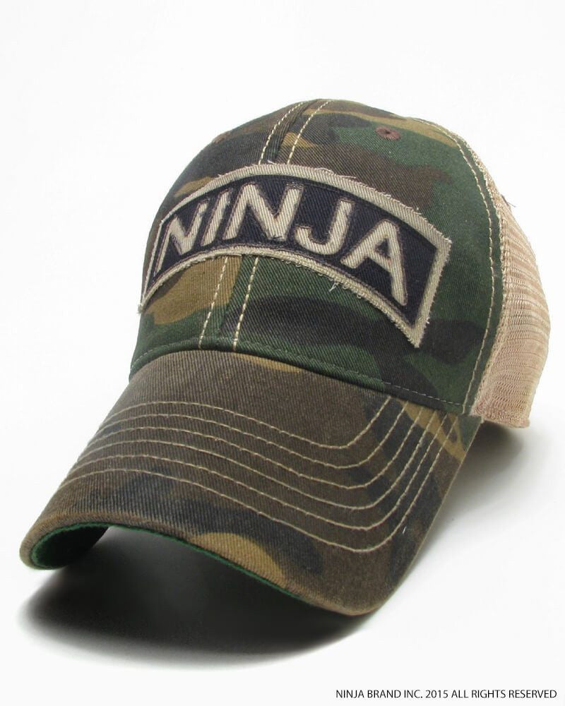 Ninja Brand Trucker Hat Ninja Scroll Snap-Back in Woodland Camo