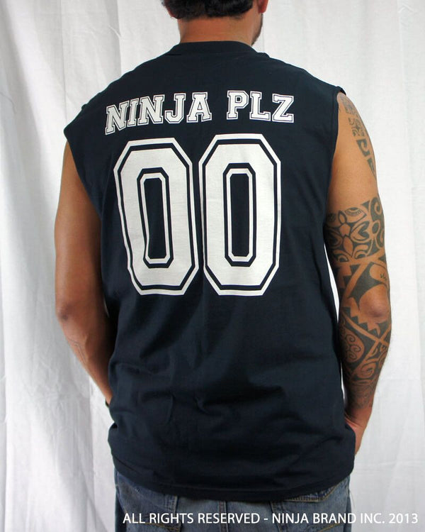 Men's Ninja Brand Inc Sleeveless Shirt Jersey - Ninja Brand Inc Logo on front with Double Zero and NINJA PLZ on back - Black - Back View