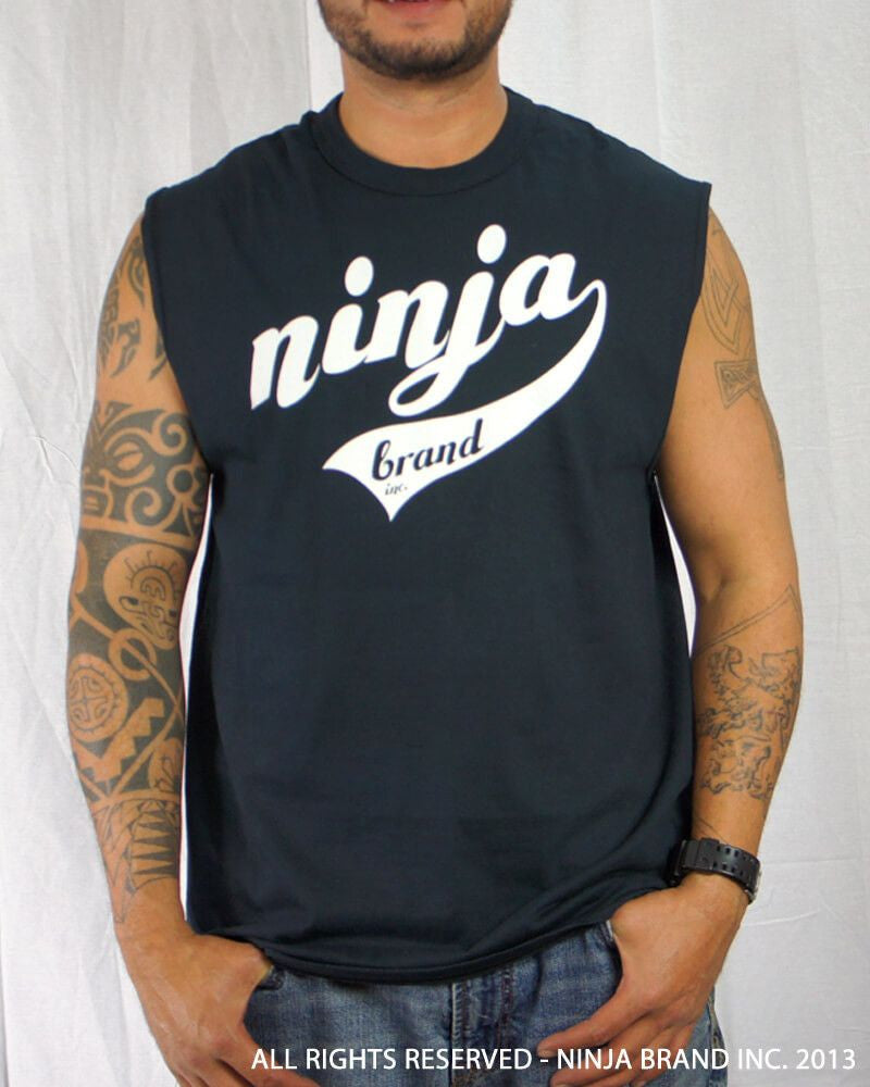 Men's Ninja Brand Inc Sleeveless Shirt Jersey - Ninja Brand Inc Logo on front with Double Zero and NINJA PLZ on back - Black - Front View