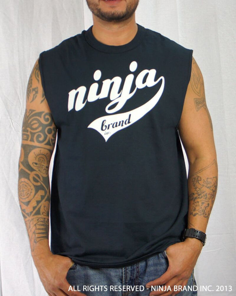 Men's Ninja Brand Inc Sleeveless Shirt Jersey - Ninja Brand Inc Logo on front with Double Zero and NINJA PLZ on back - Royal Blue - Front View