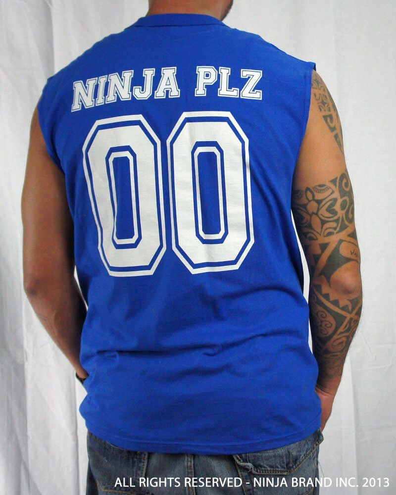 Men's Ninja Brand Inc Sleeveless Shirt Jersey - Ninja Brand Inc Logo on front with Double Zero and NINJA PLZ on back - Royal Blue - Back View