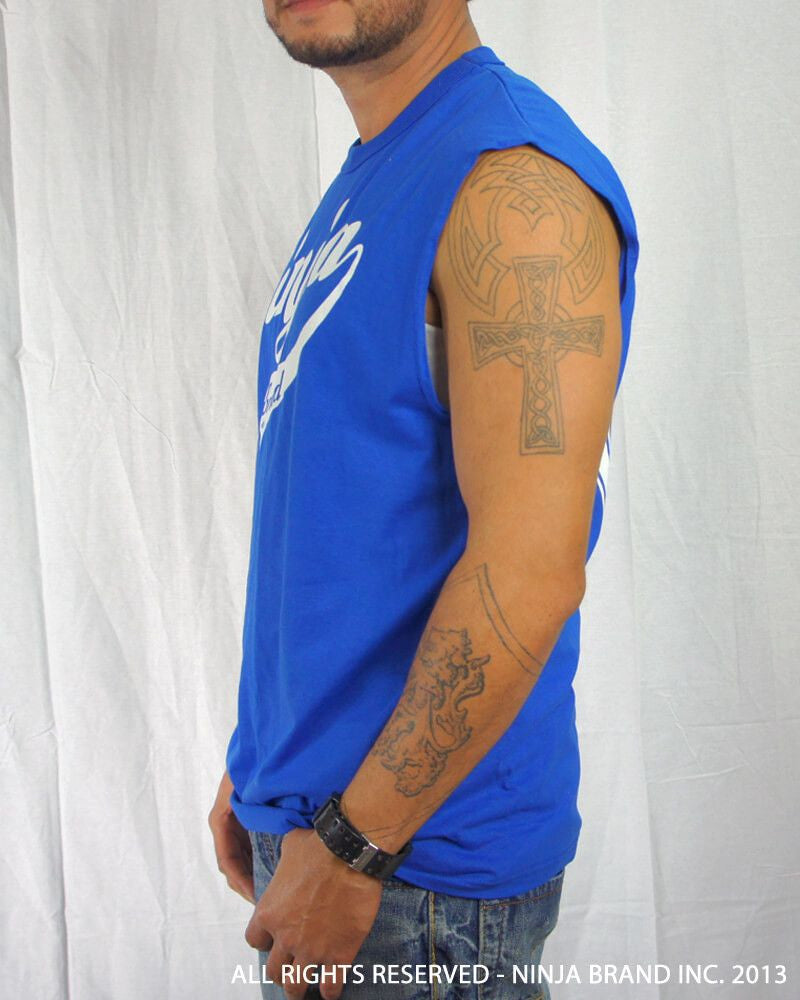 Men's Ninja Brand Inc Sleeveless Shirt Jersey - Ninja Brand Inc Logo on front with Double Zero and NINJA PLZ on back - Royal Blue - Side View