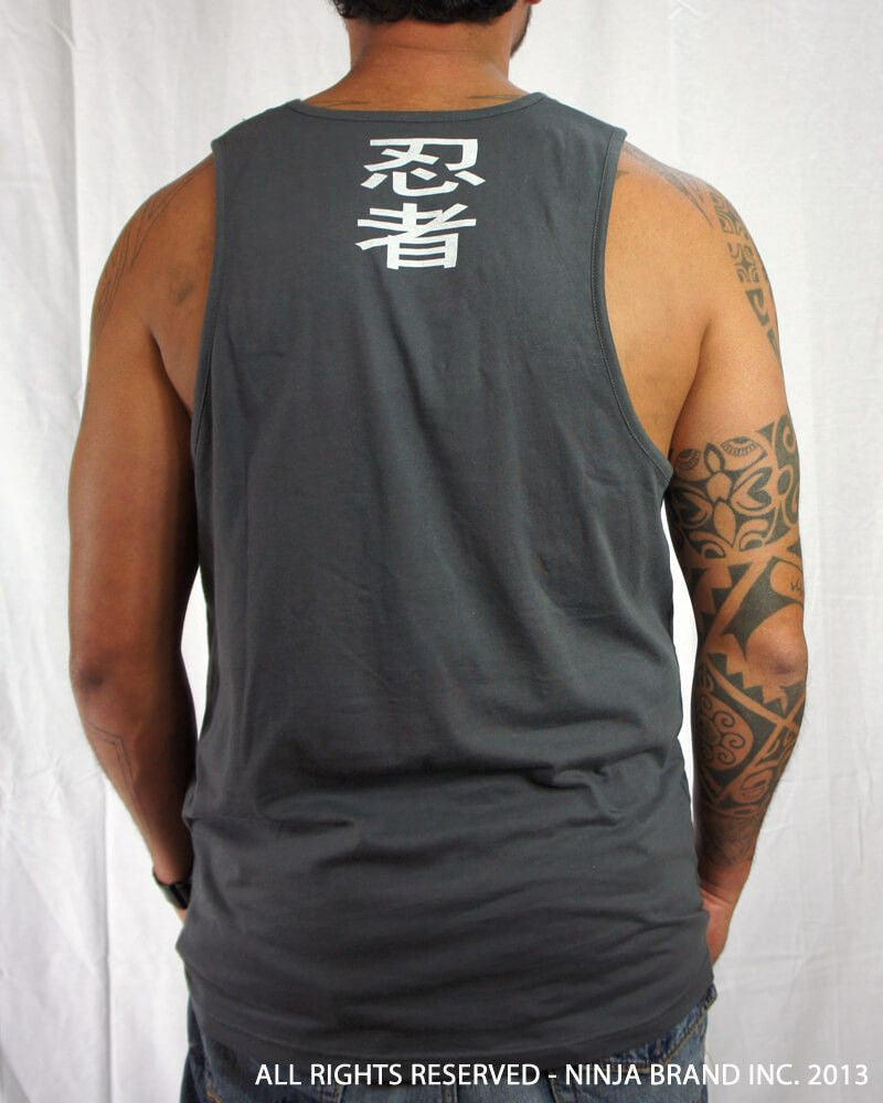Men's Ninja Brand Inc Logo Tank Top with NBI Logo on front and NINJA Kanji on back - Heavy Metal Gray - Back View