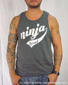 Men's Ninja Brand Inc Logo Tank Top with NBI Logo on front and NINJA Kanji on back - Heavy Metal Gray - Front View