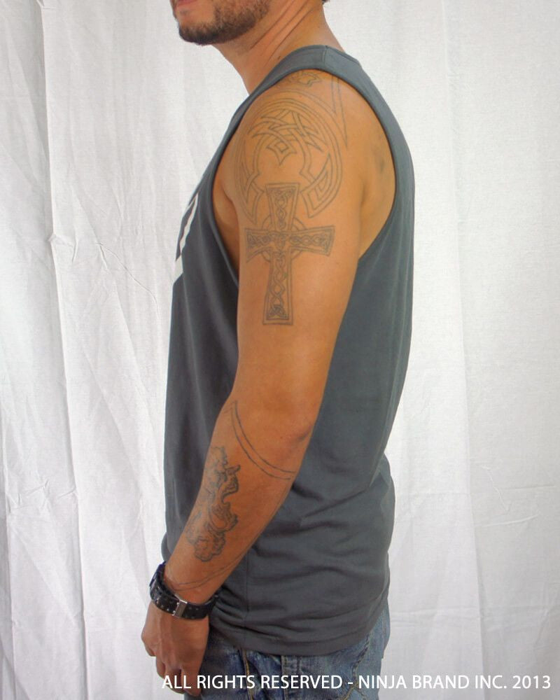 Men's Ninja Brand Inc Logo Tank Top with NBI Logo on front and NINJA Kanji on back - Heavy Metal Gray - Side View