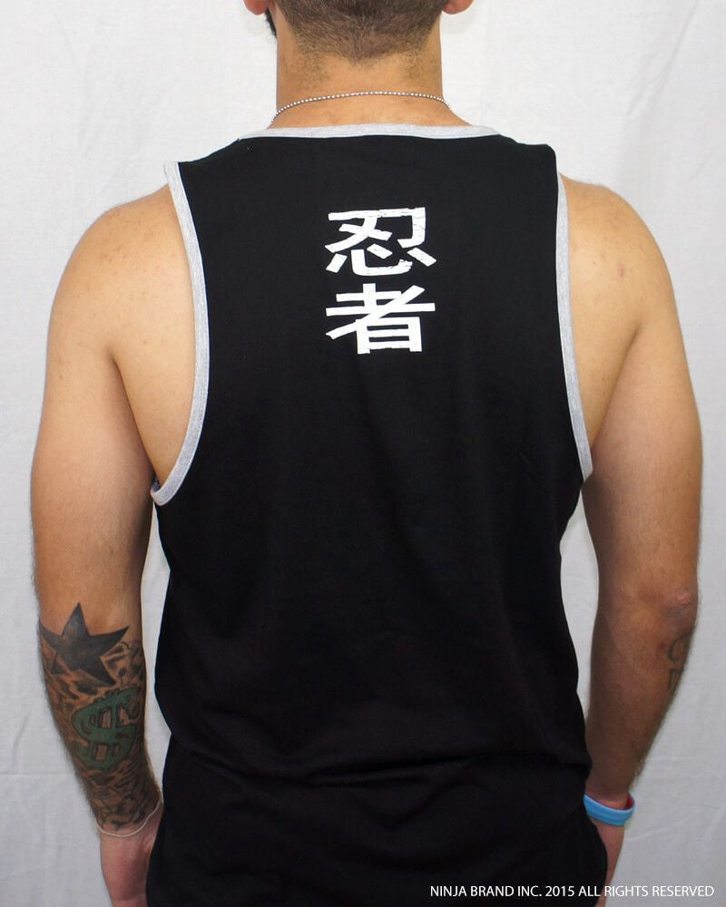 Men's Ninja Muscle Plate Tank-Top - Black with Heather Gray Trim - Back View