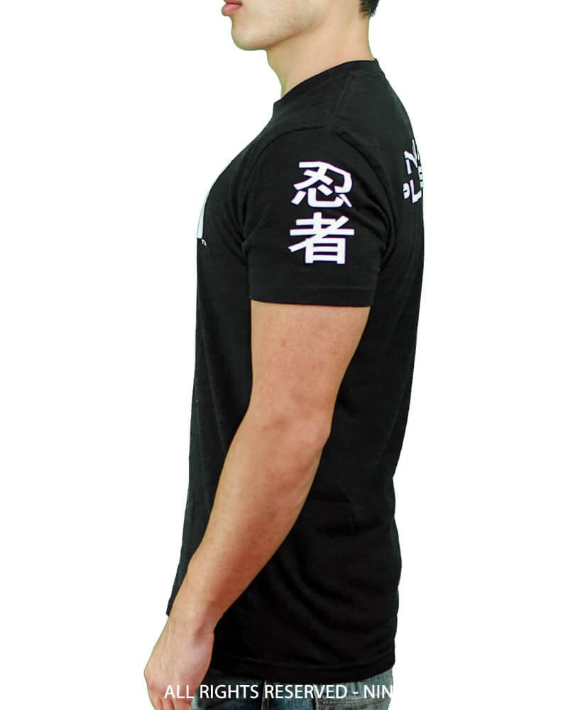 Ninja Brand Inc - Men's T-Shirt in Black - DJ Ninja on front - Ninja Please on back - Side View