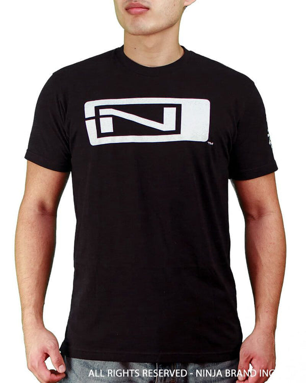 Men's Fitted T-Shirt - N-Logo - Ninja Please - Black - Front View