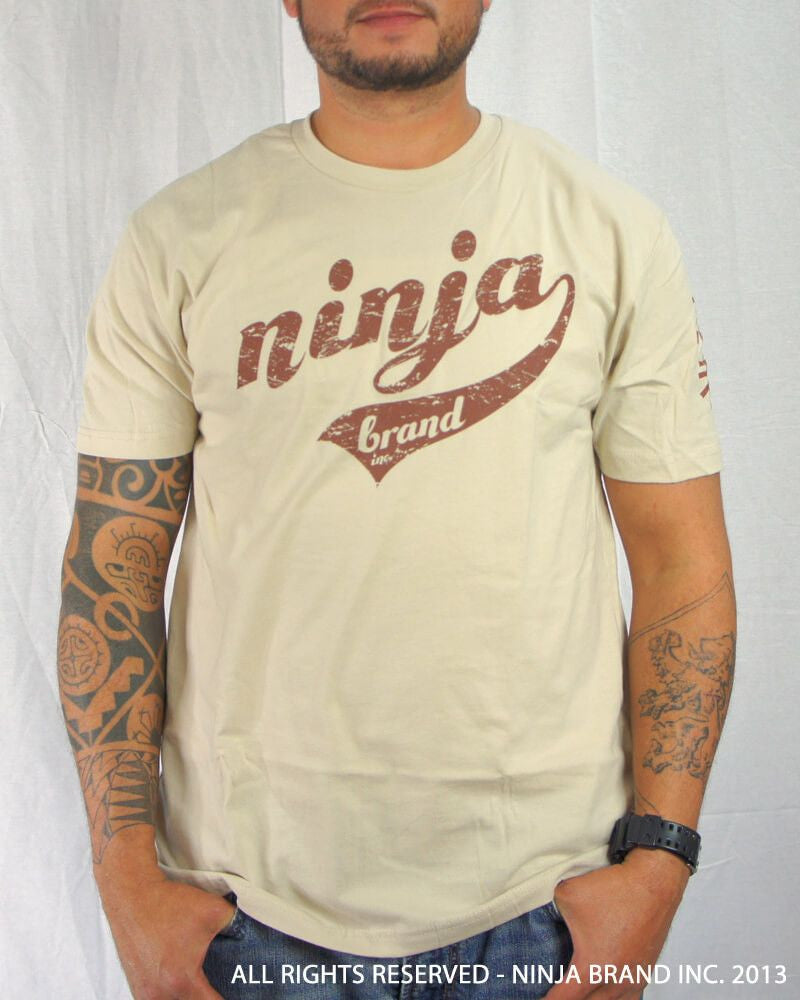 Men's Ninja Brand Inc Vintage Fitted T-Shirt - Tan with Brown Ink - Front View