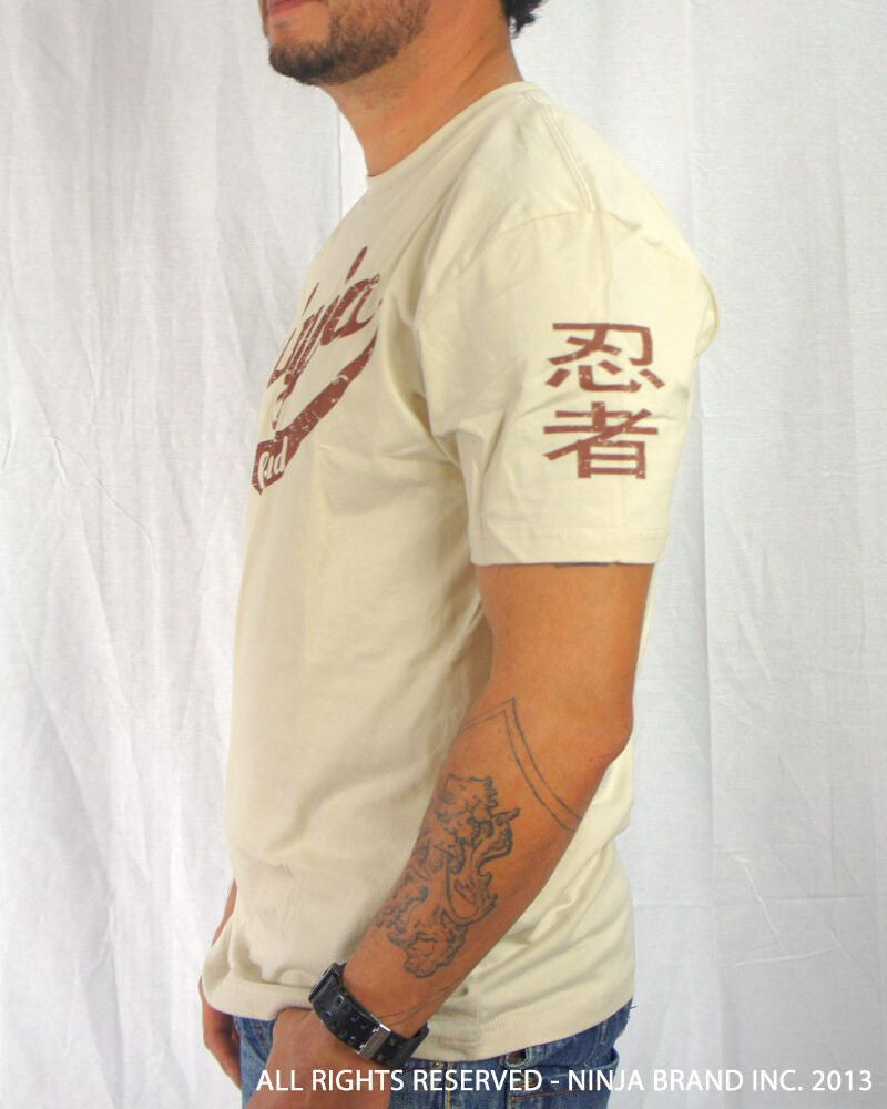 Men's Ninja Brand Inc Vintage Fitted T-Shirt - Tan with Brown Ink - Side View