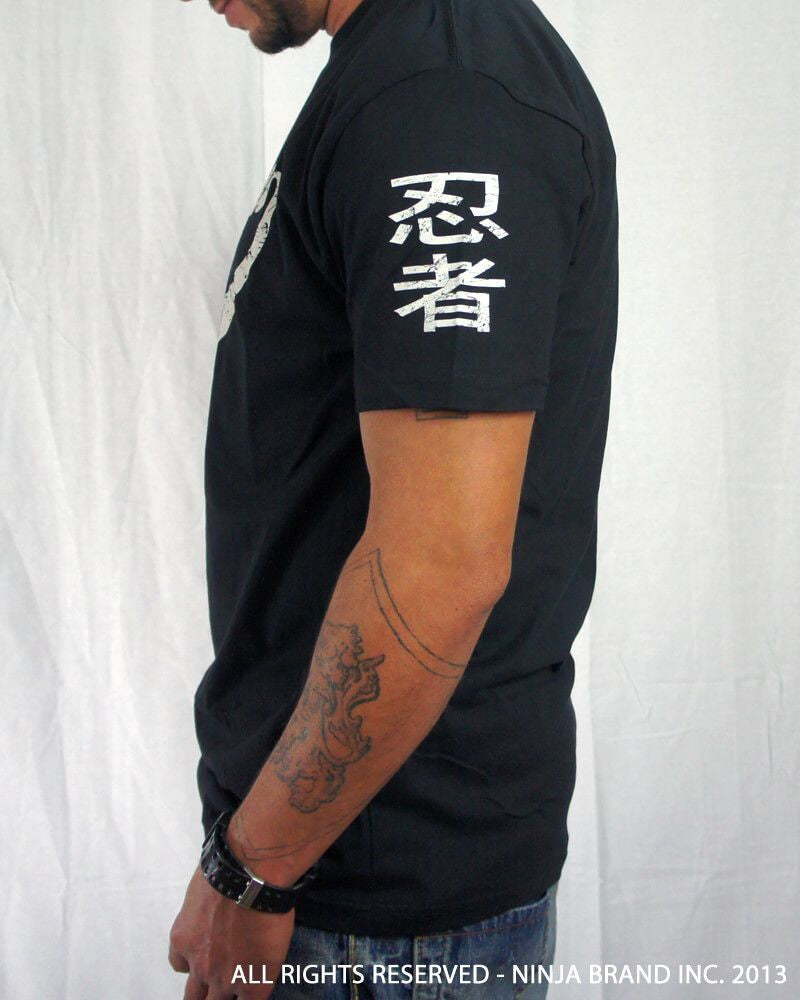 Men's Ninja Brand Inc Vintage Fitted T-Shirt - Black with White Ink - Side