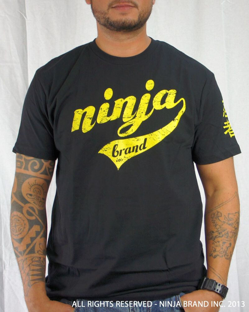 Men's Ninja Brand Inc Vintage Fitted T-Shirt - Black with Yellow Ink - Front