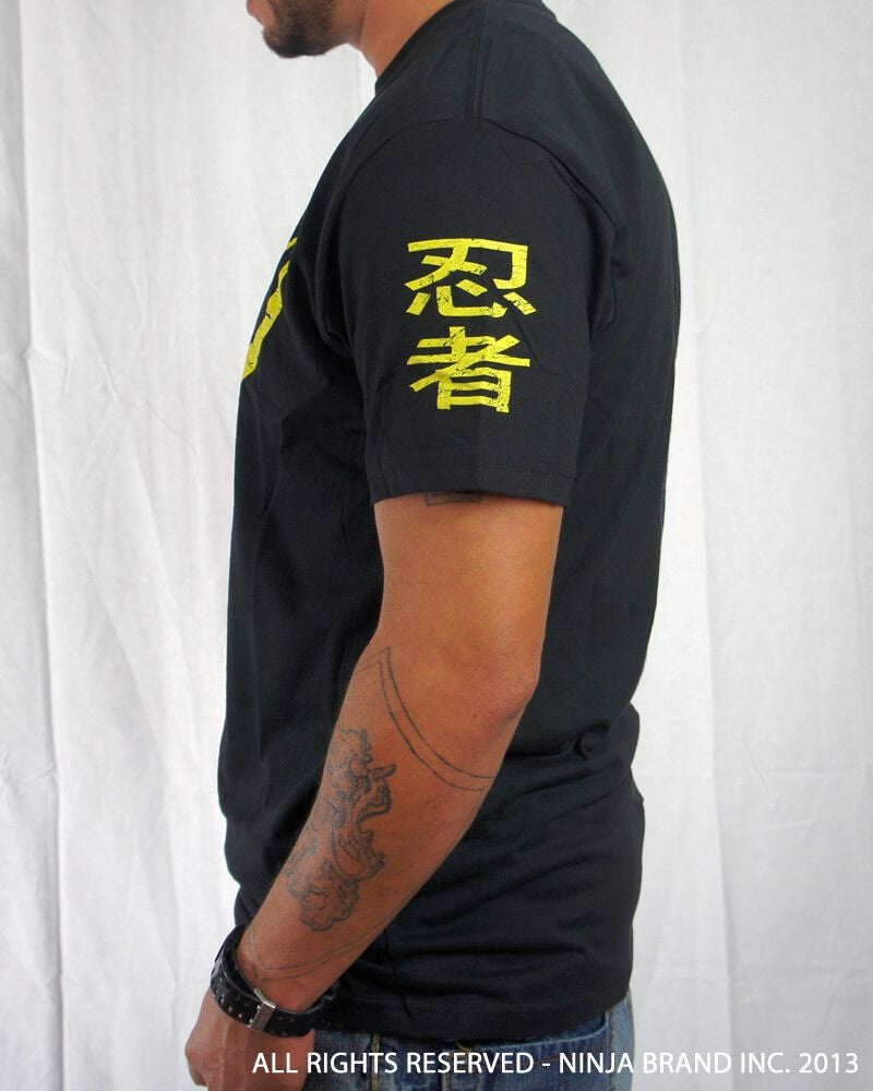 Men's Ninja Brand Inc Vintage Fitted T-Shirt - Black with Yellow Ink - Side