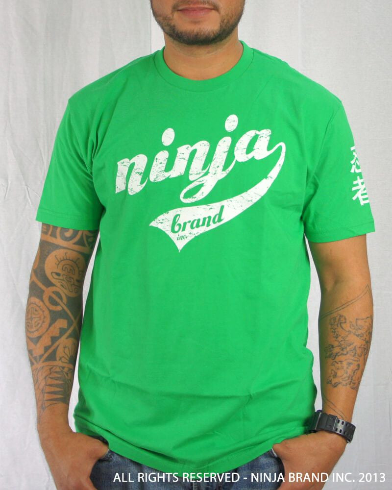Men's Ninja Brand Inc Vintage Fitted T-Shirt - Kelly Green with White Ink - Front View