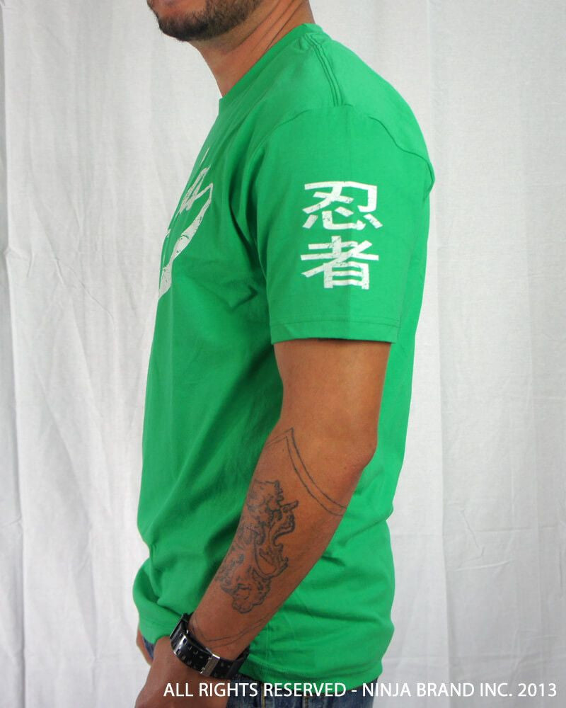 Men's Ninja Brand Inc Vintage Fitted T-Shirt - Kelly Green with White Ink - Side View