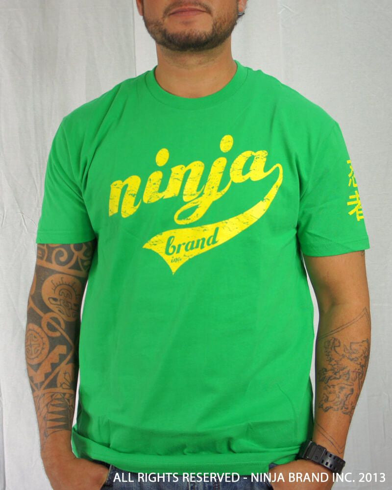 Men's Ninja Brand Inc Vintage Fitted T-Shirt - Kelly Green with Yellow Ink - Front View