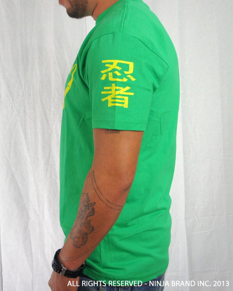 Men's Ninja Brand Inc Vintage Fitted T-Shirt - Kelly Green with Yellow Ink - Side View