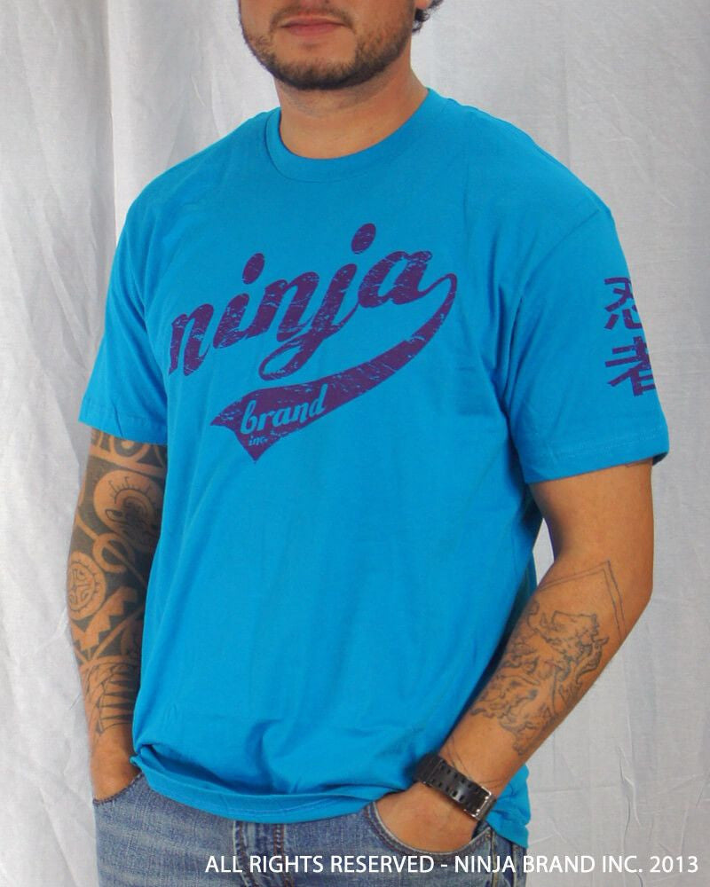 Men's Ninja Brand Inc Vintage Fitted T-Shirt - Light Blue with Purple Ink - Front View