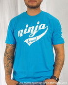 Men's Ninja Brand Inc Vintage Fitted T-Shirt - Light Blue with White Ink - Front View