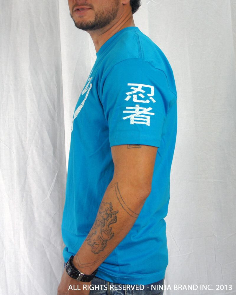 Men's Ninja Brand Inc Vintage Fitted T-Shirt - Light Blue with White Ink - Side View