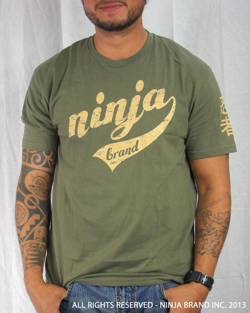 Men's Ninja Brand Inc Vintage Fitted T-Shirt - Olive Drab Green with Tan Ink - Front View