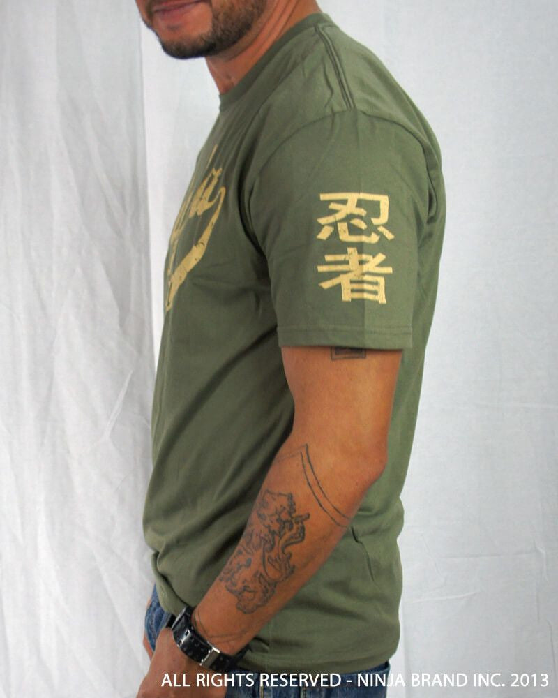 Men's Ninja Brand Inc Vintage Fitted T-Shirt - Olive Drab Green with Tan Ink - Side View