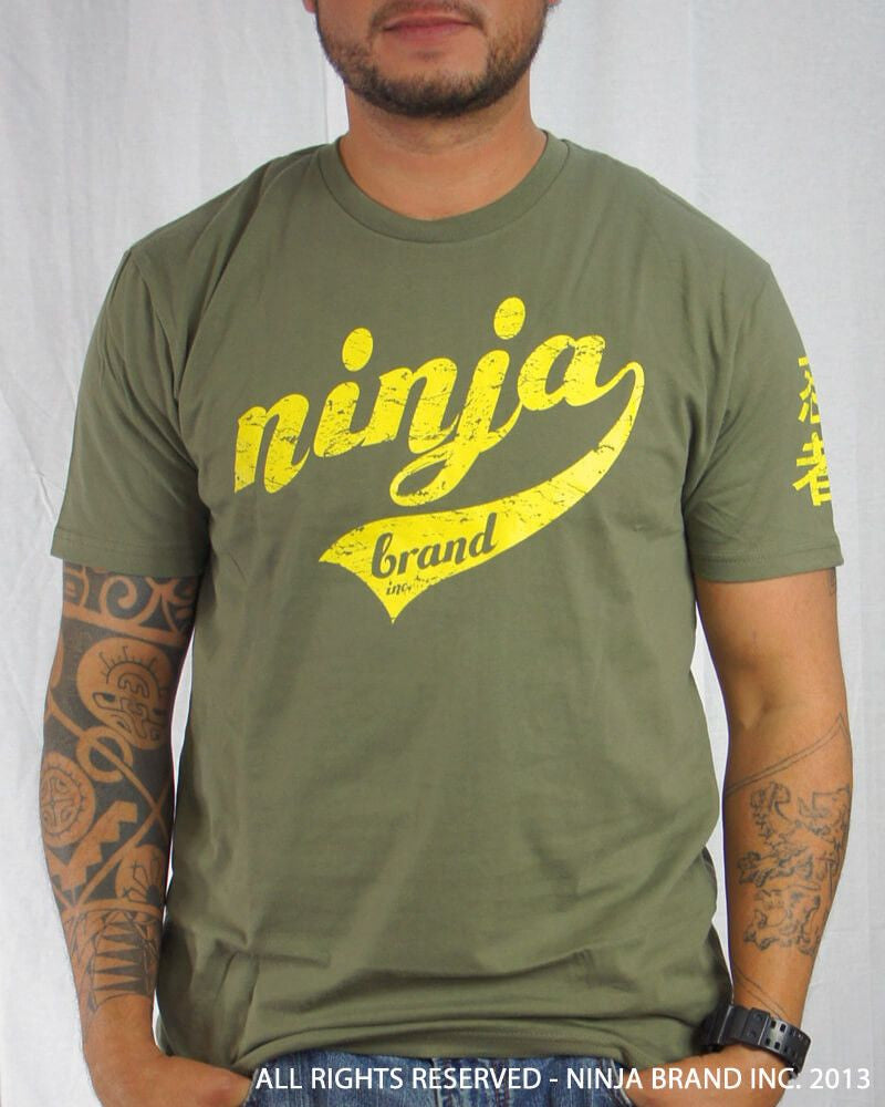 Men's Ninja Brand Inc Vintage Fitted T-Shirt - Olive Drab Green with Yellow Ink - Front View