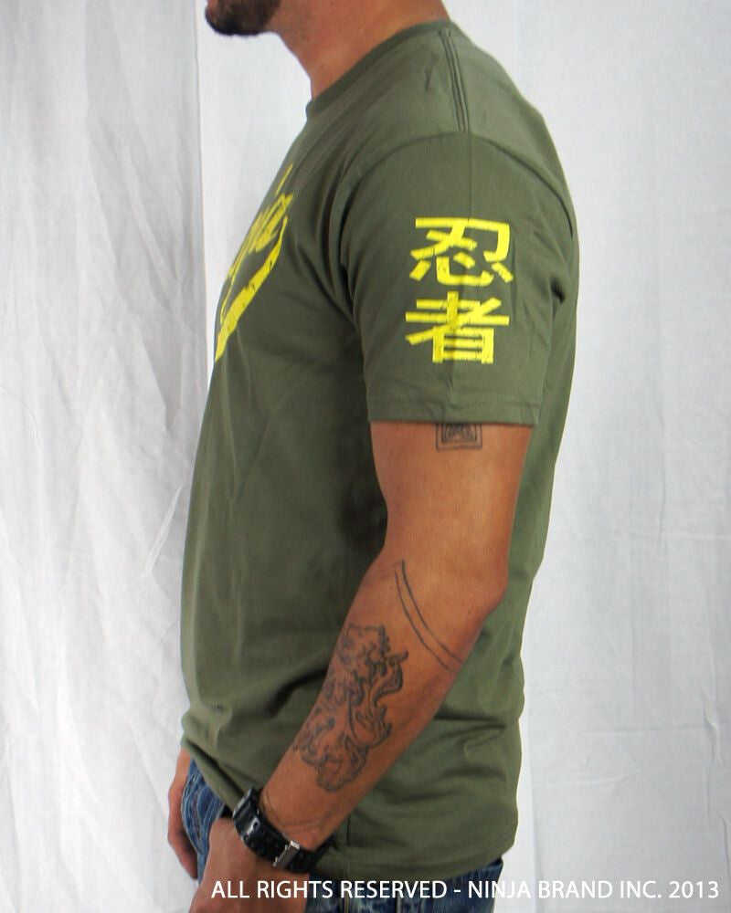 Men's Ninja Brand Inc Vintage Fitted T-Shirt - Olive Drab Green with Yellow Ink - Side View