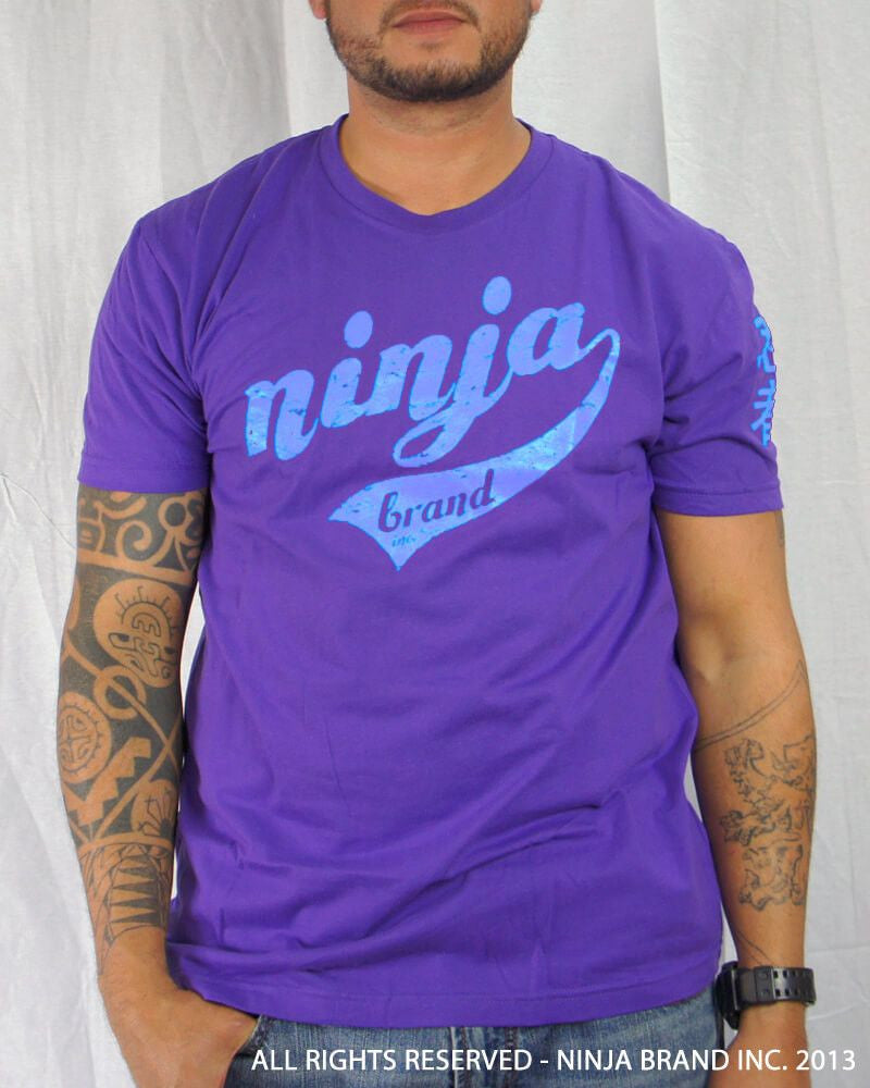Men's Ninja Brand Inc Vintage Fitted T-Shirt - Purple with Sky Blue Ink - Front View