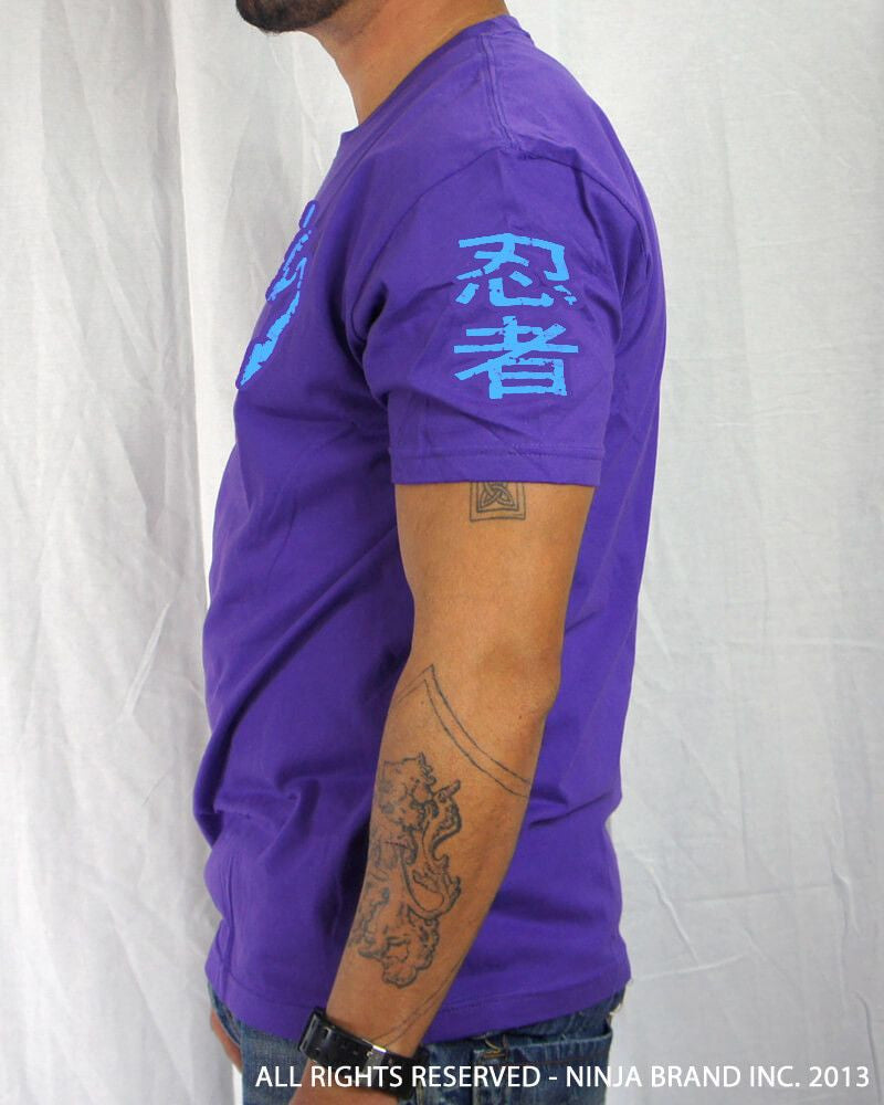 Men's Ninja Brand Inc Vintage Fitted T-Shirt - Purple with Sky Blue Ink - Side View