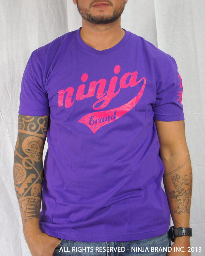 Men's Ninja Brand Inc Vintage Fitted T-Shirt - Purple with Magenta Ink - Front View