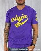 Men's Ninja Brand Inc Vintage Fitted T-Shirt - Purple with Yellow Ink - Front View