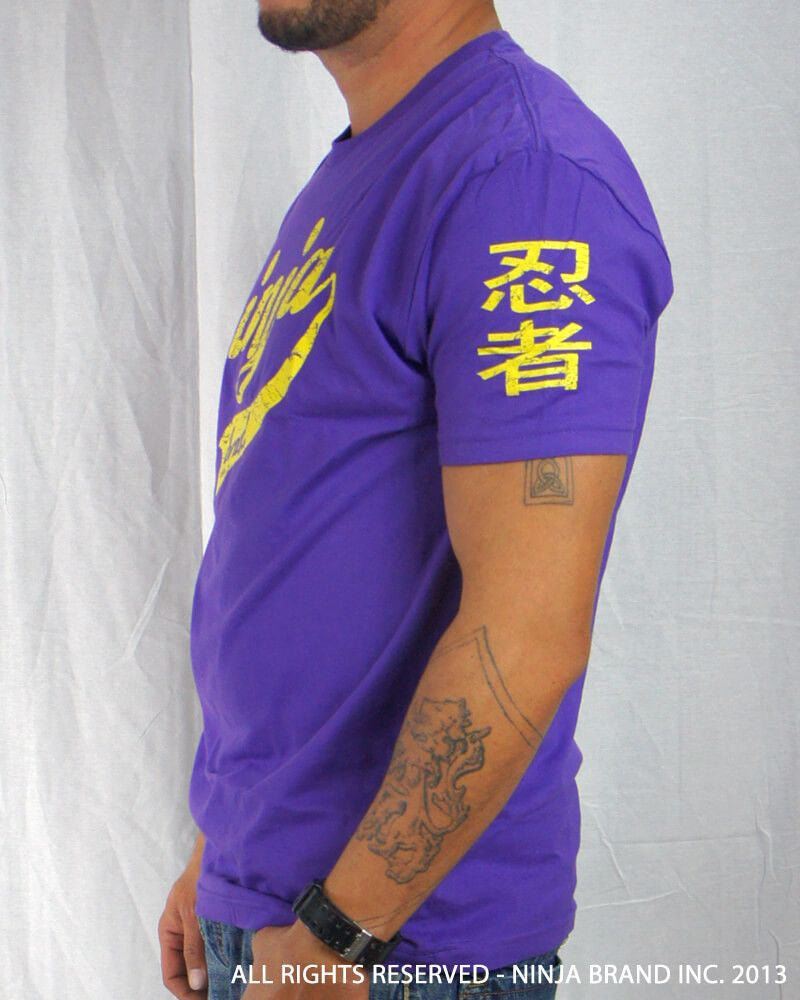 Men's Ninja Brand Inc Vintage Fitted T-Shirt - Purple with Yellow Ink - Side View