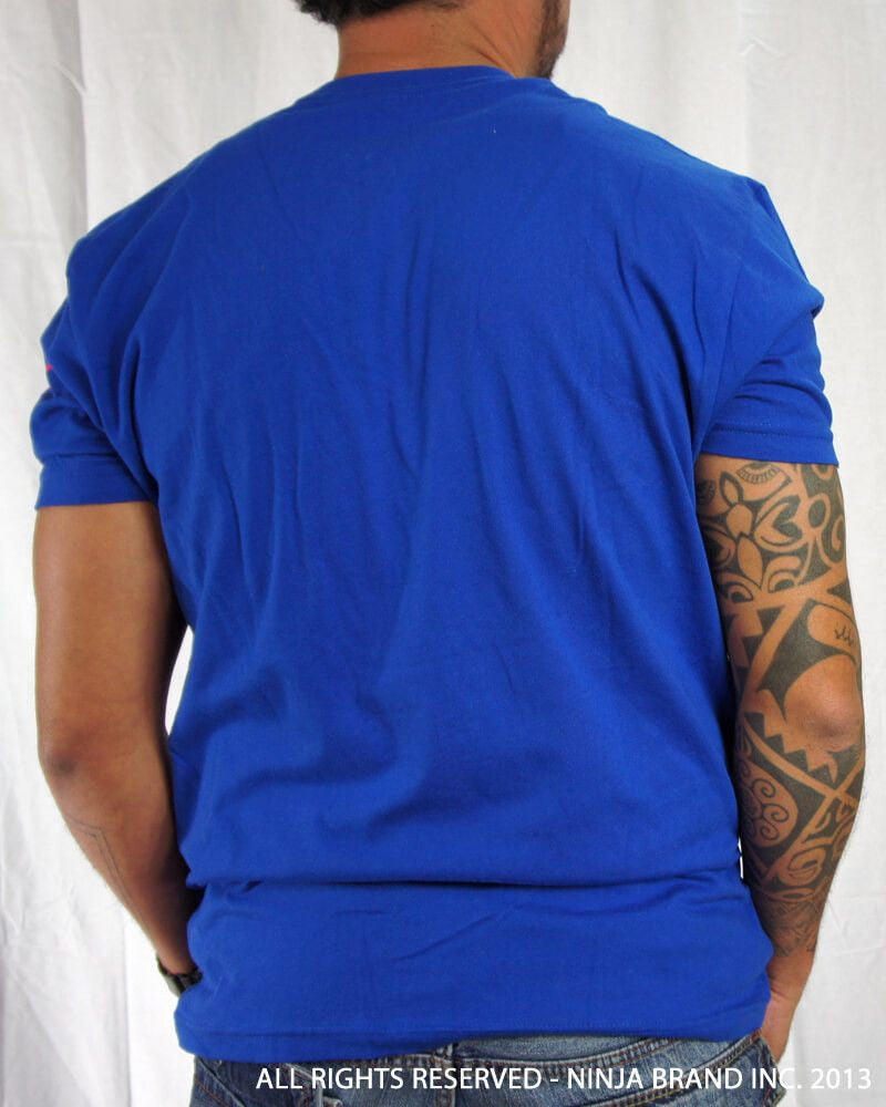 Men's Ninja Brand Inc Vintage Fitted T-Shirt - Royal Blue with Yellow Ink - Back View