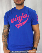 Men's Ninja Brand Inc Vintage Fitted T-Shirt - Royal Blue with Magenta Ink - Front View