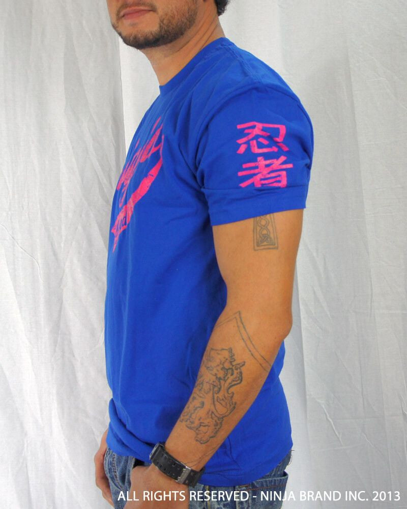 Men's Ninja Brand Inc Vintage Fitted T-Shirt - Royal Blue with Magenta Ink - Side View