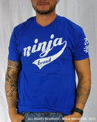 Men's Ninja Brand Inc Vintage Fitted T-Shirt - Royal Blue with White Ink - Front View