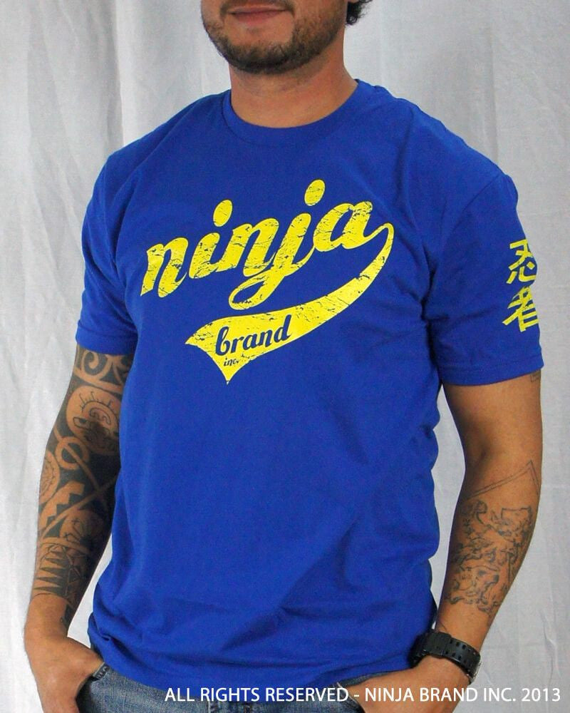 Men's Ninja Brand Inc Vintage Fitted T-Shirt - Royal Blue with Yellow Ink - Front