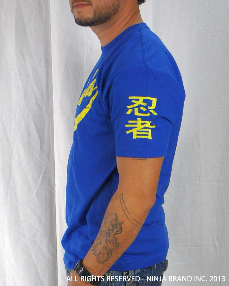 Men's Ninja Brand Inc Vintage Fitted T-Shirt - Royal Blue with Yellow Ink - Side View
