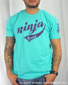 Men's Ninja Brand Inc Vintage Fitted T-Shirt - Light Blue with White Ink - Front ViewMen's Ninja Brand Inc Vintage Fitted T-Shirt - Aqua with Purple Ink - Front View