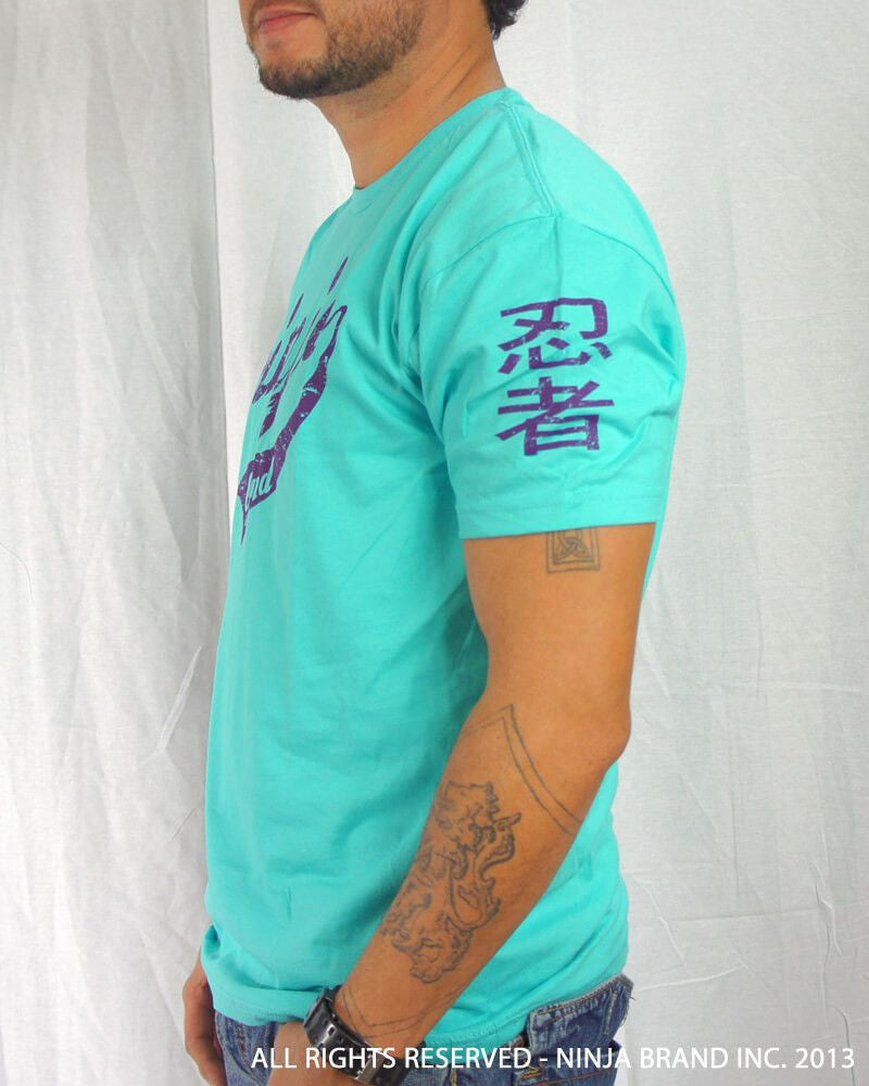 Men's Ninja Brand Inc Vintage Fitted T-Shirt - Light Blue with White Ink - Front ViewMen's Ninja Brand Inc Vintage Fitted T-Shirt - Aqua with Purple Ink - Side View