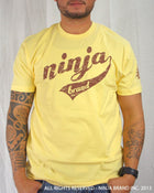 Men's Ninja Brand Inc Vintage Fitted T-Shirt - Yellow with Brown Ink - Front View