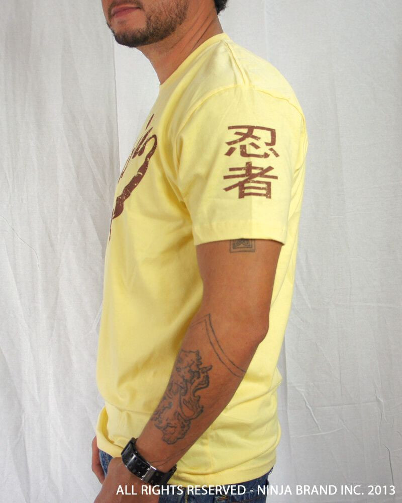 Men's Ninja Brand Inc Vintage Fitted T-Shirt - Yellow with Brown Ink - Side View