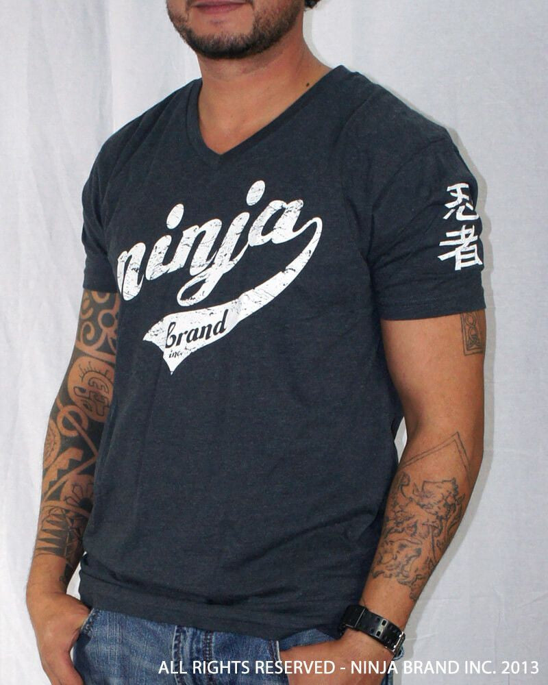 Men's Ninja Brand Inc Vintage V-Neck T-Shirt - Navy Blue - Front View